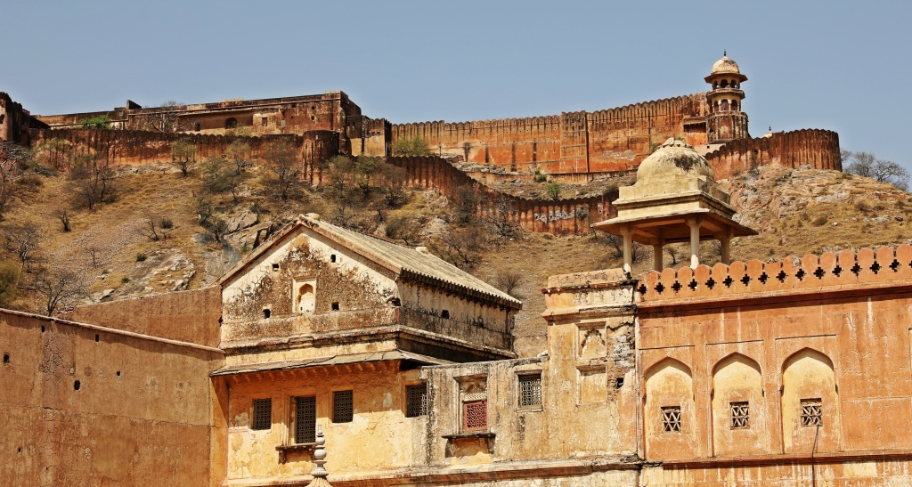 Amer Fort with wall in background, Jaipur