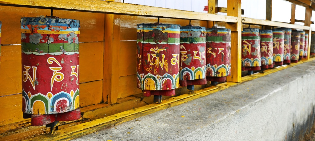 Prayer wheels, Sachen Gompa,, Goecha La Trek