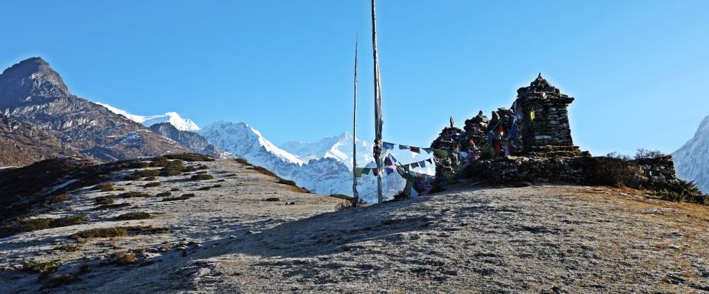 Chortens with Himalayas behind, Goecha La Trek