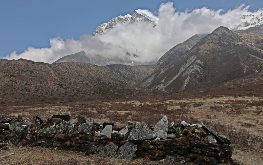 Mani wall with Mt. Padim behind, Goecha La Trek