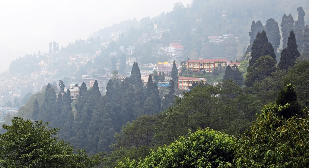 Darjeeling homes on the steep hills