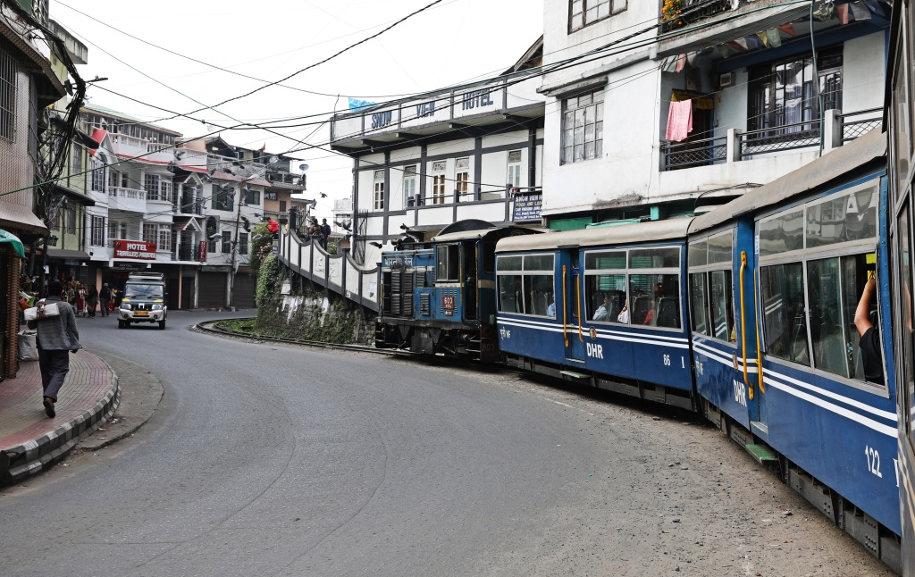 Toy Train on Darjeeling's main street