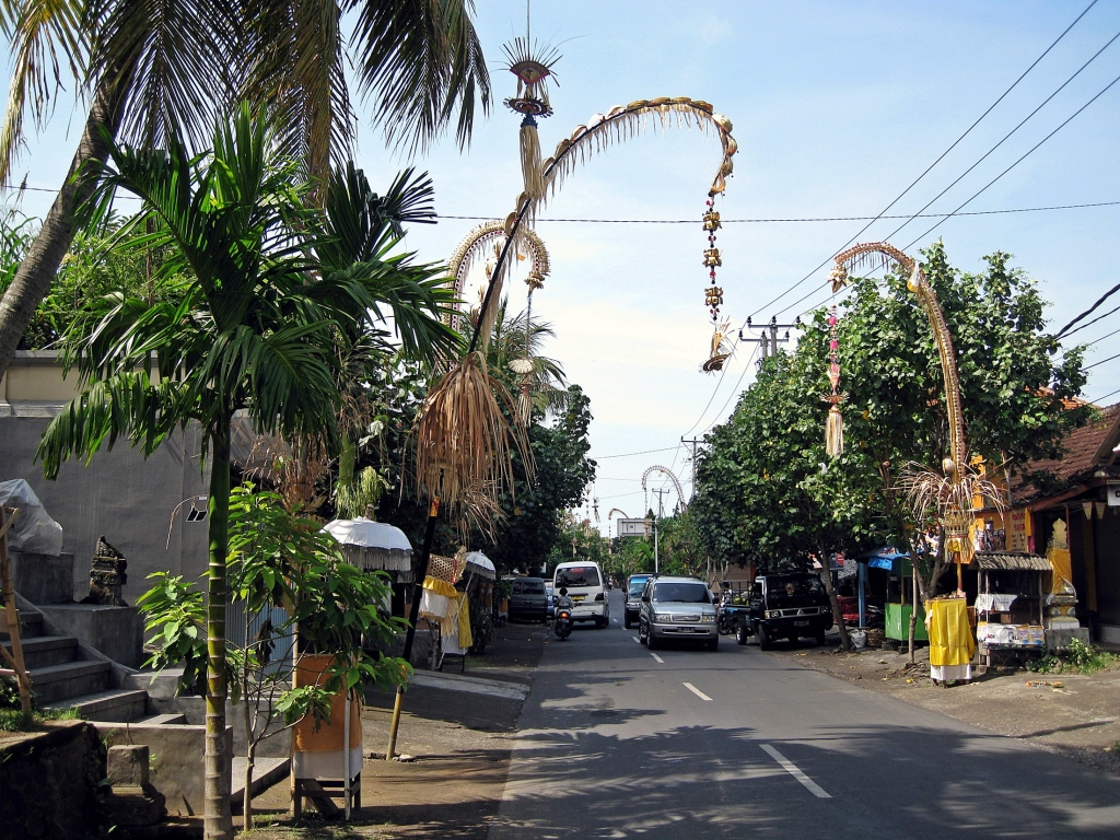 Bamboo penjors on a street in Ubud
