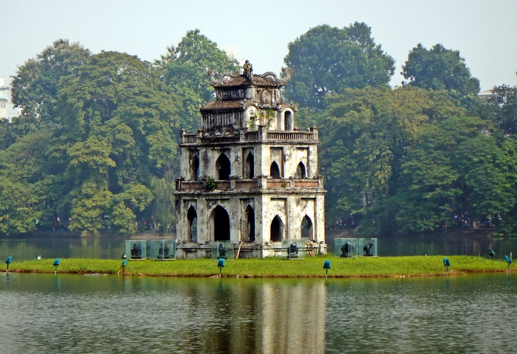 Turtle Tower in Hoam Kiem Lake , Hanoi
