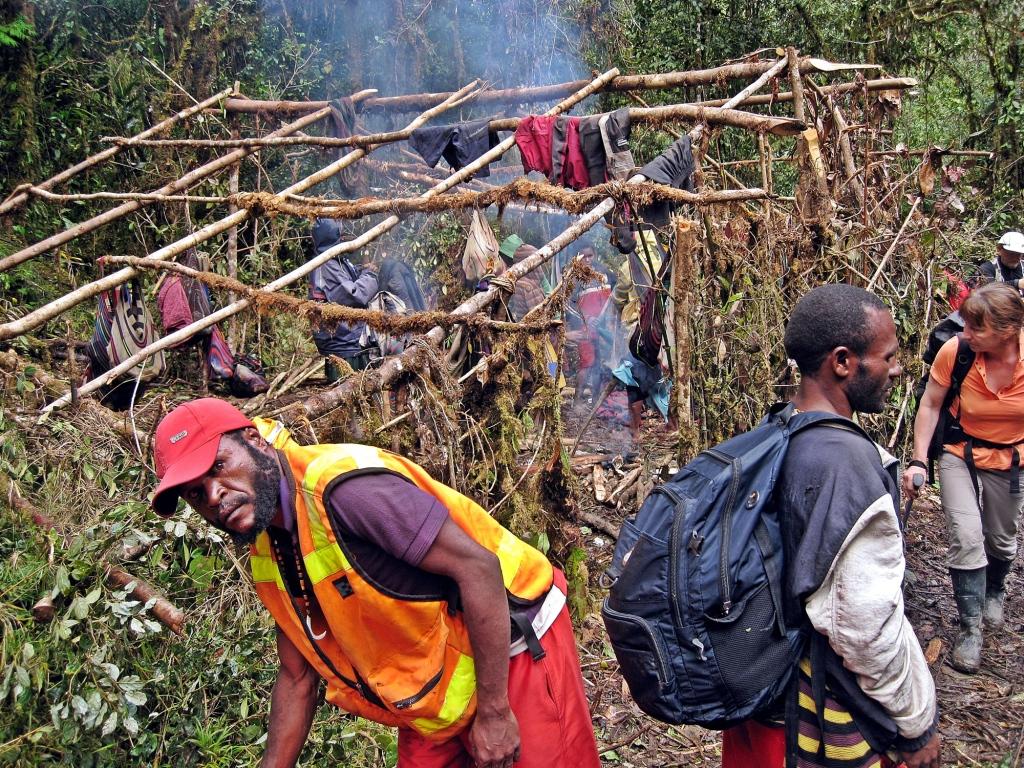 Porters' shelter, Carstensz Pyramid Trek
