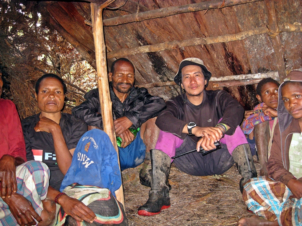 Sharing a shelter with our porters