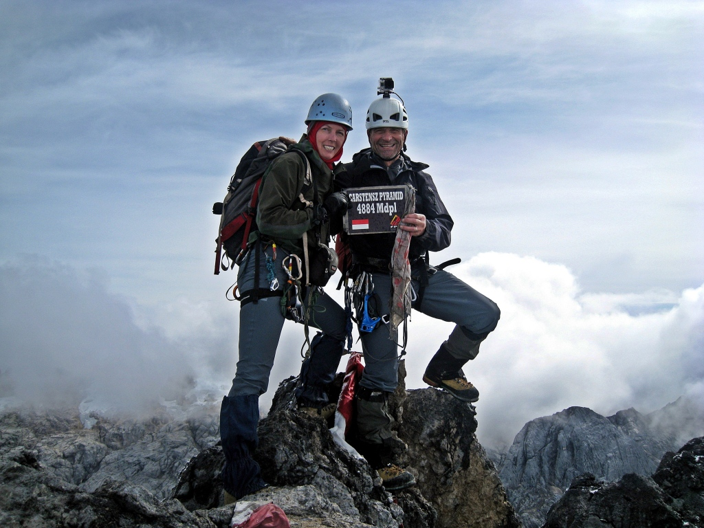 Maggie and Richard on the summit of Carstensz Pyramid