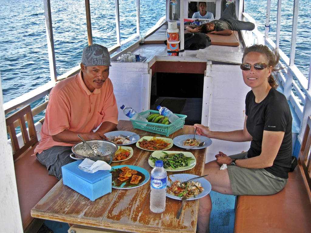 Delicious lunch with our guide on our cruise