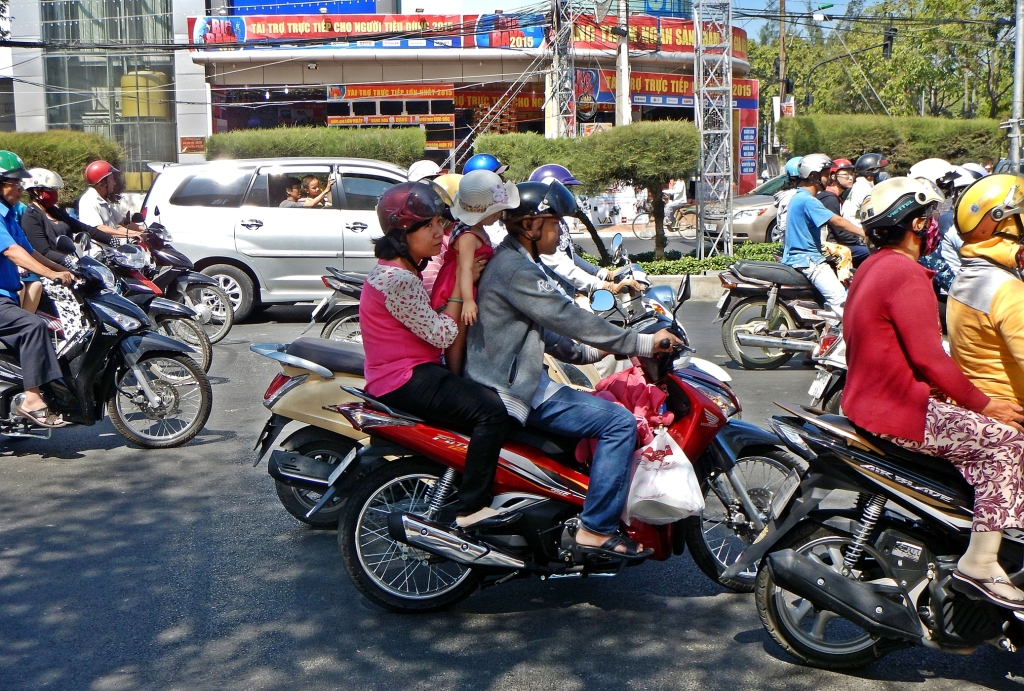 Family on a scooter, Can Tho, Vietnam