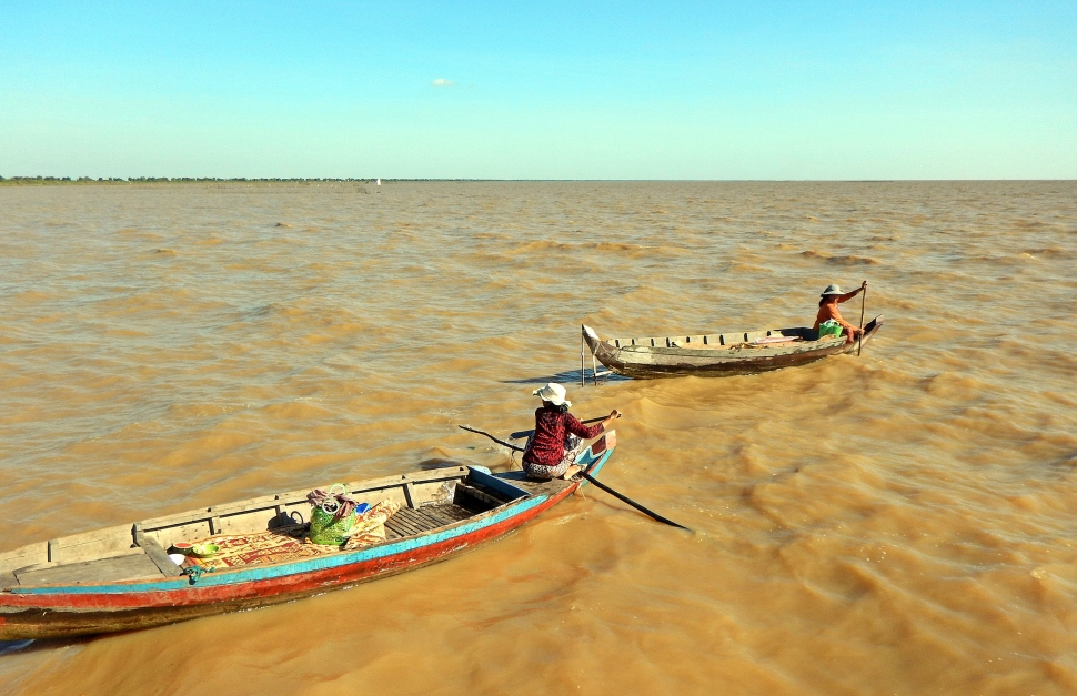 Wooden dugout boats, Tonle Sap