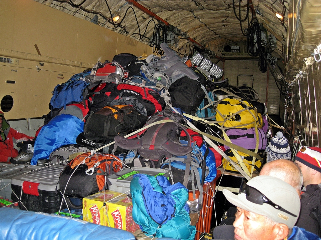 Cargo inside the Ilyushin Il-76 plane