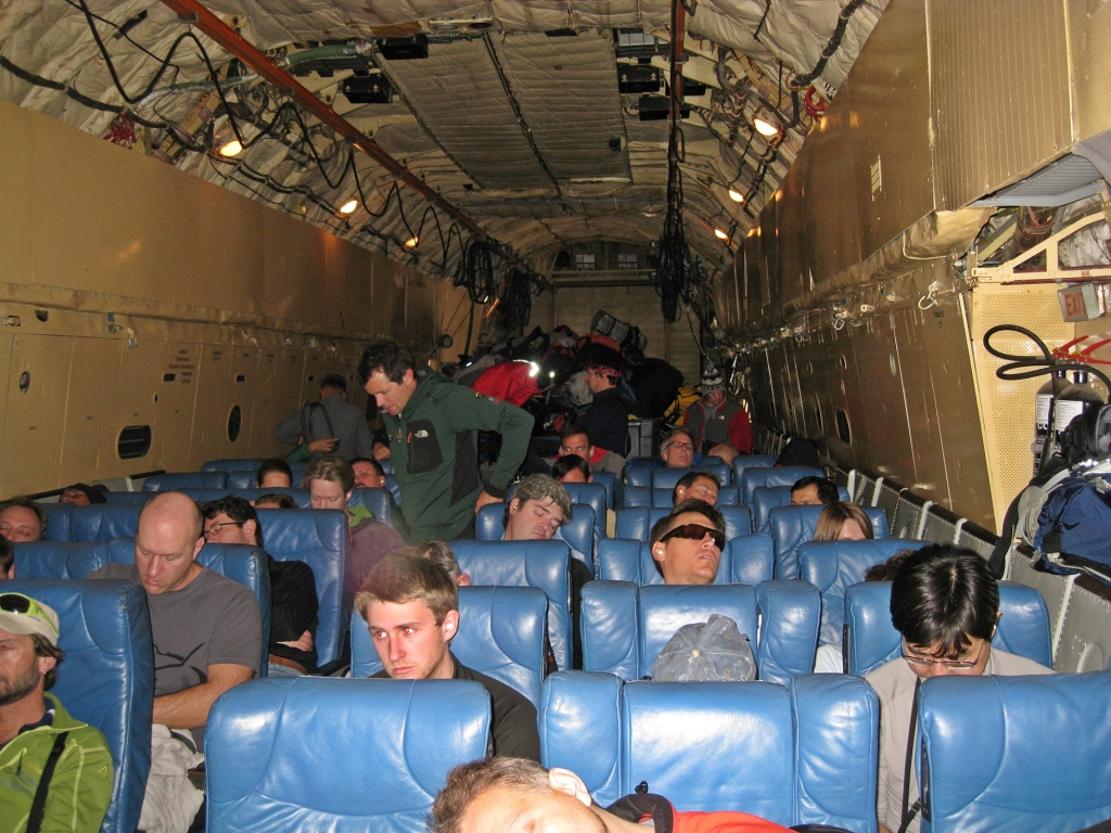 Inside the Ilyushin Il-76 plane
