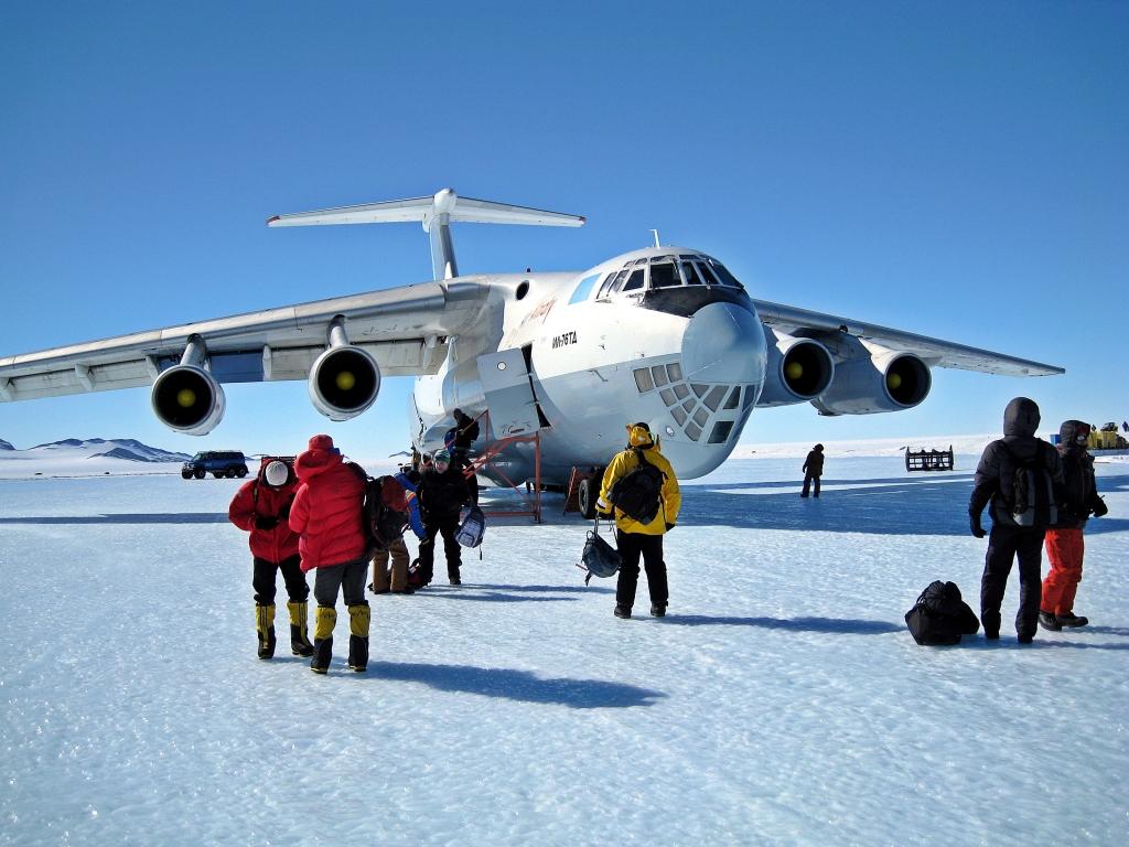 Ilyushin Il-76 plane on Union Glacier blue-ice runway