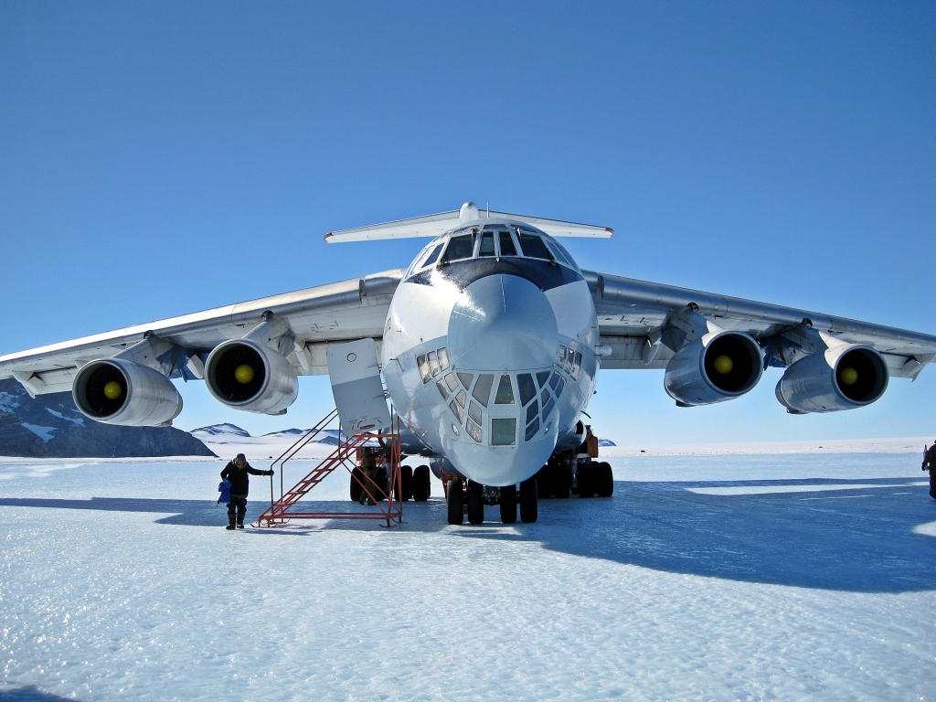 Ilyushin Il-76 plane on Union Glacier runway
