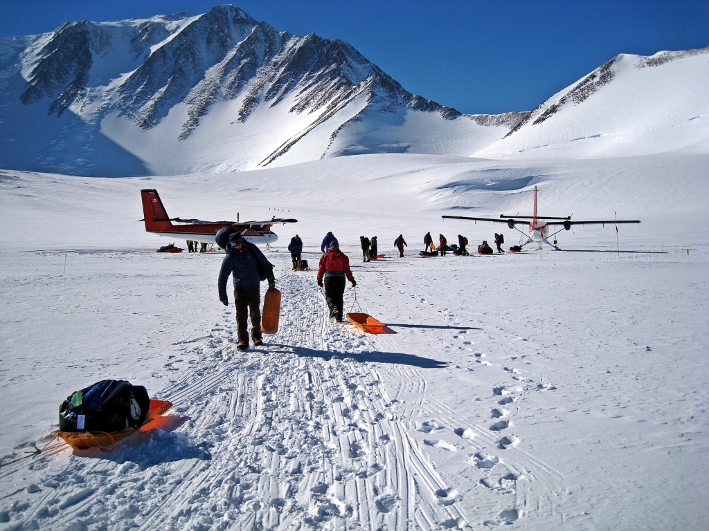 Unloading from the Twin Otters at Vinson Massif Basecamp