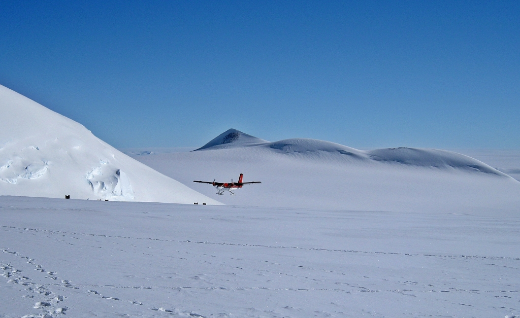 Twin Otter landing at Vinson Massif Basecamp