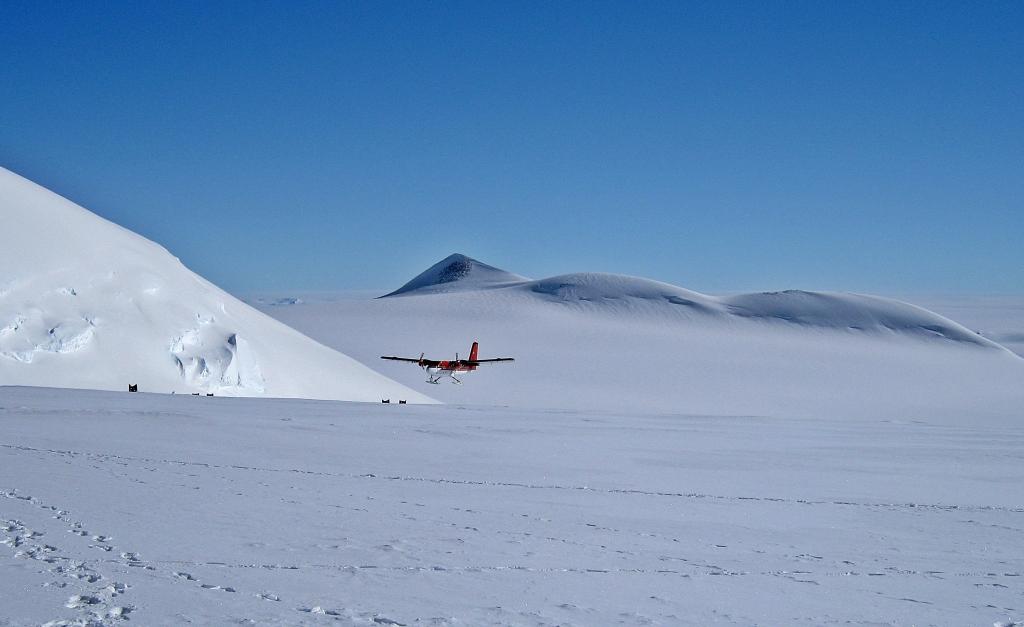 Twin Otter landing at Vinson Massif Basecamp