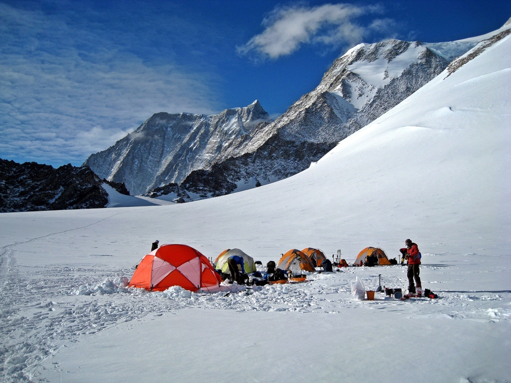 Low Camp with Mount Shin in the background