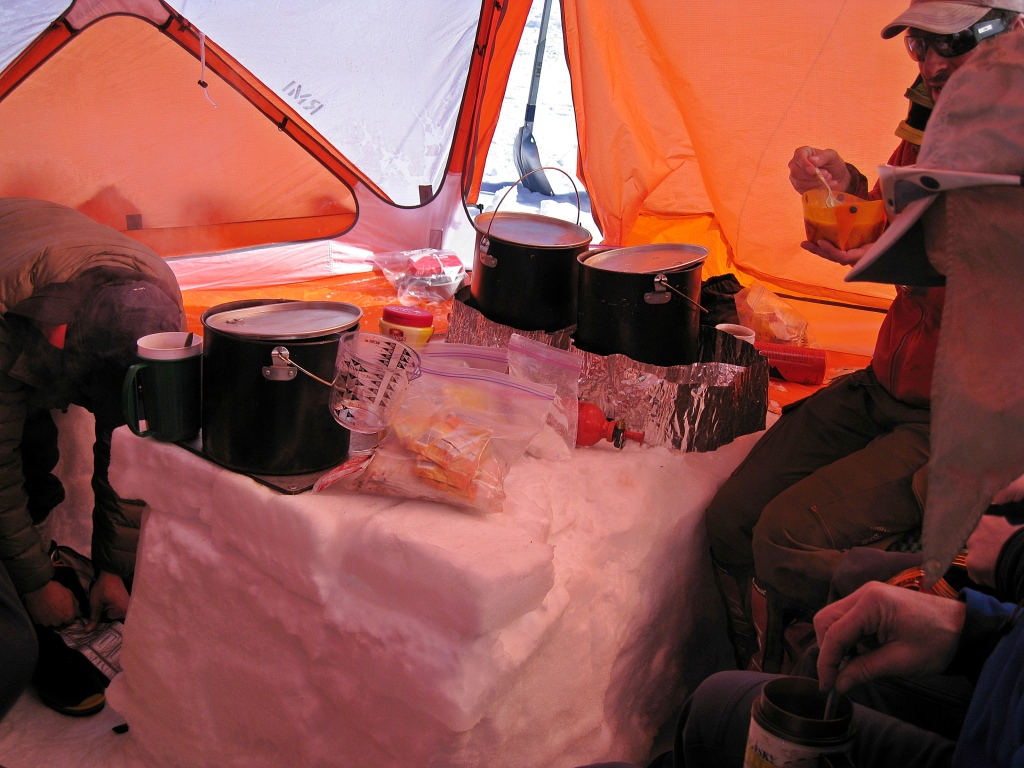 Kitchen tent with snow tables