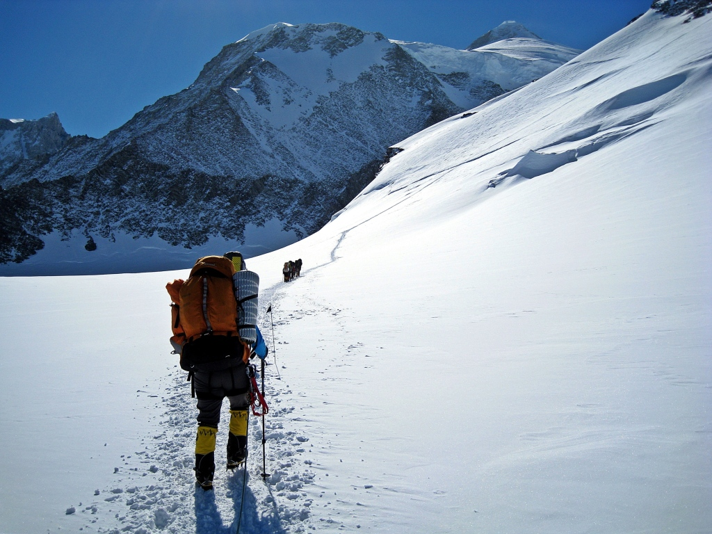 Approaching the fixed ropes above Low Camp