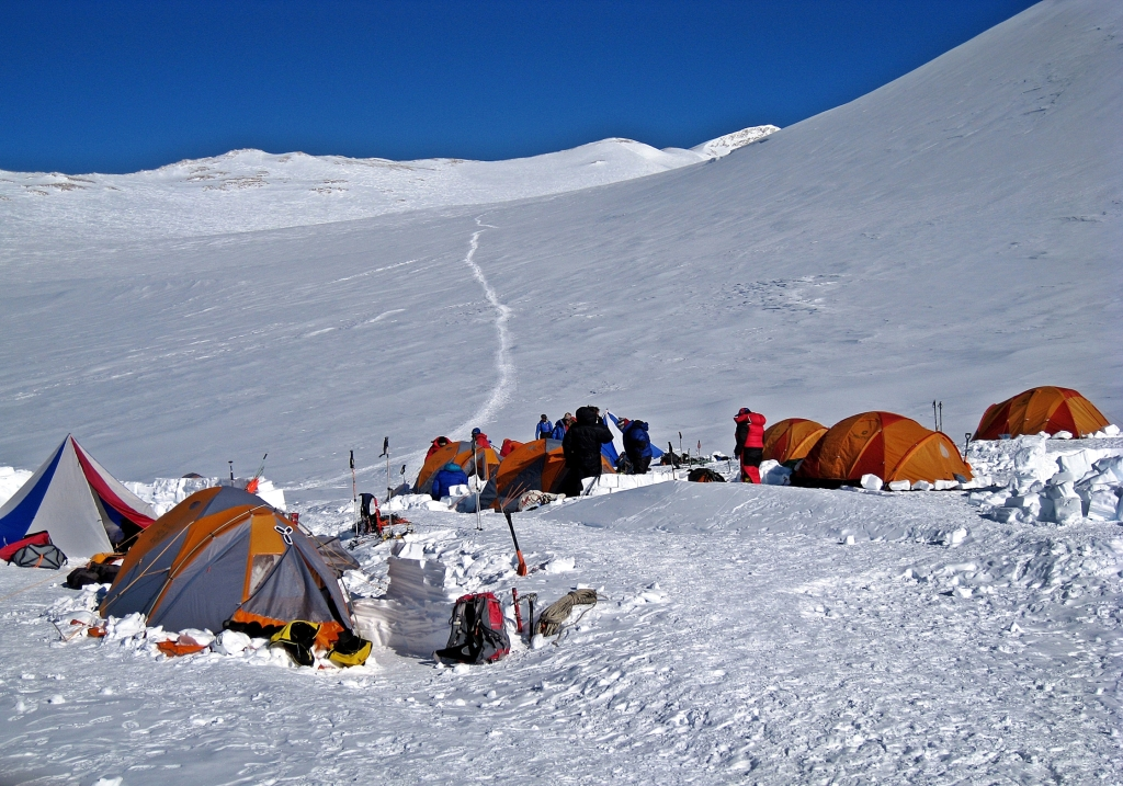 High Camp with trail to Vinson Massif summit behind