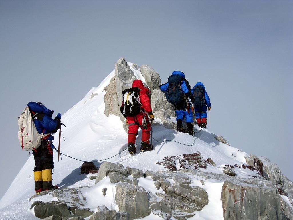 Climbing on summit ridge