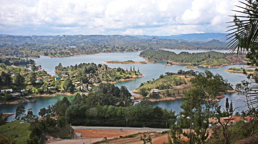 View of Guatape Reservoir from the top of El Penol
