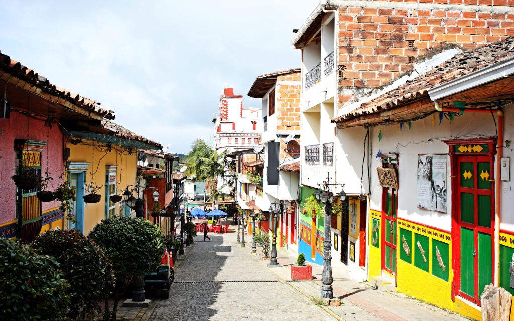 Colourful street in Guatape