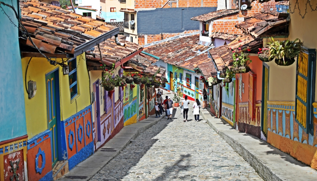 Colourful, hilly streets in Guatape