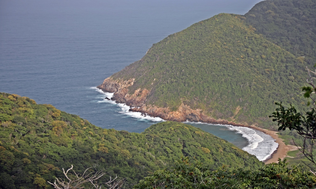 View from lookout of a secluded beach, Tayrona Park