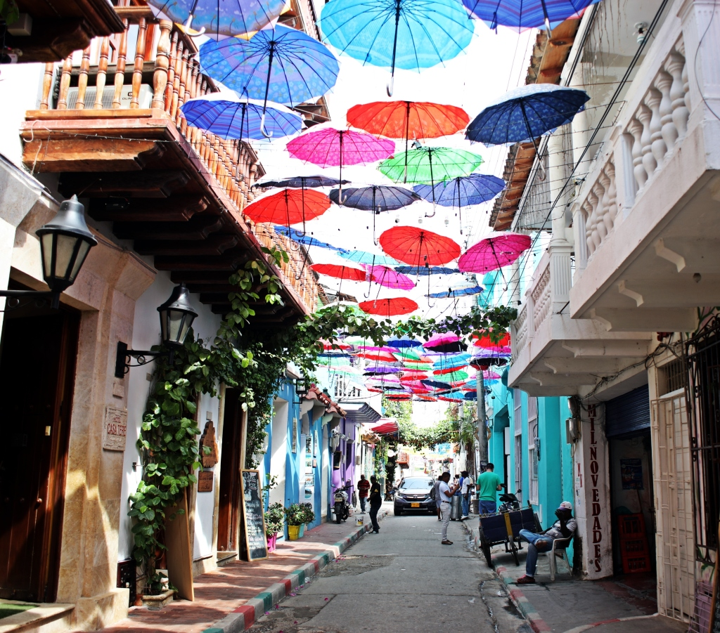 Colourful street in Getsemani, Cartagena