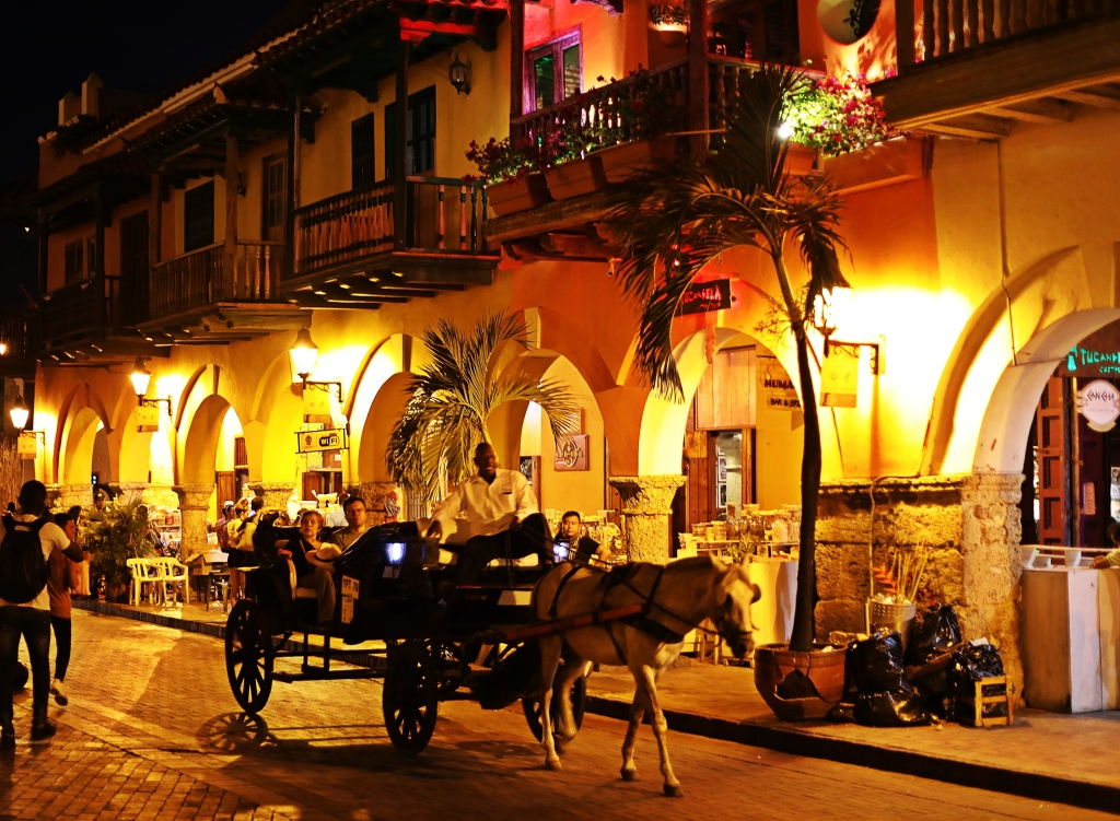 The Walled City at night, Cartagena