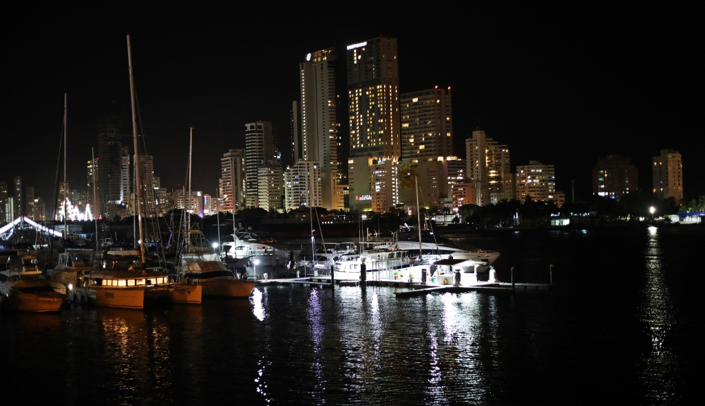 Cartagena marina and skyline at night