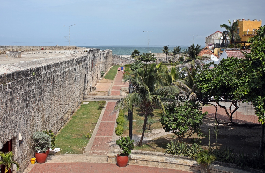 Cartagena wall and the Caribbean Sea
