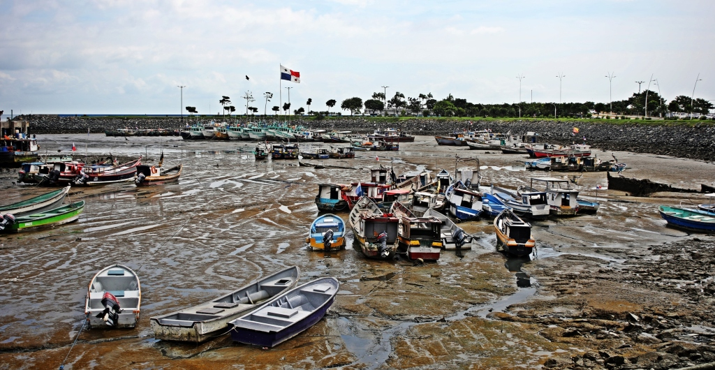 Panama harbour at low tide