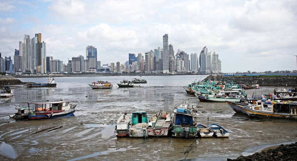Panama City and harbour at low tide