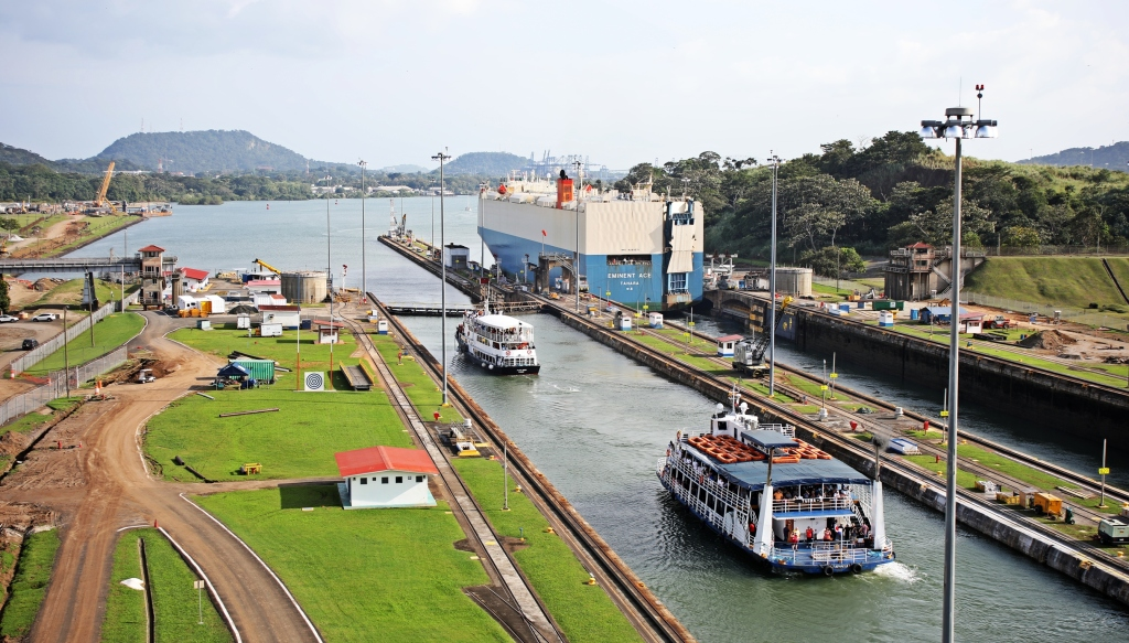 Ships going through the locks, Panama Canal