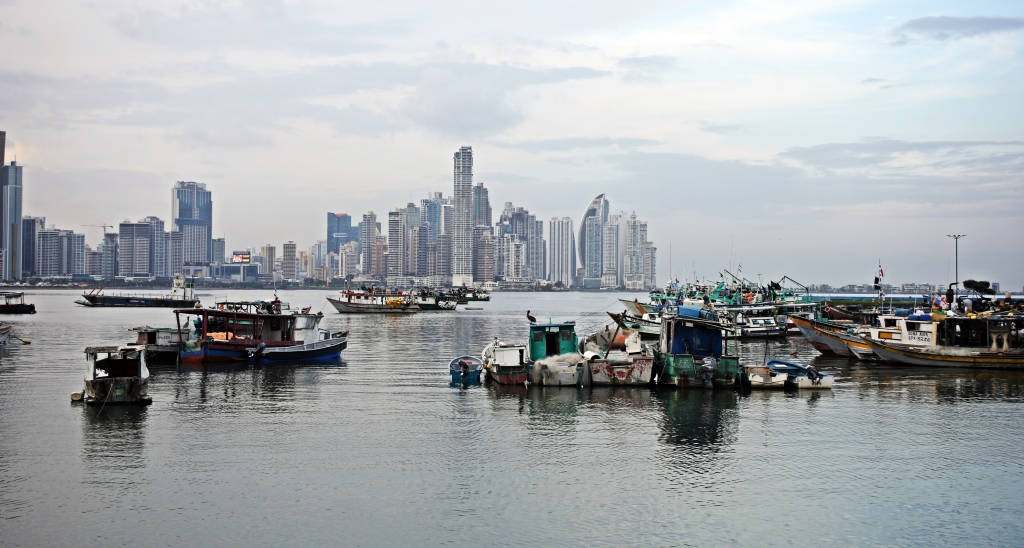 Panama City and harbour at high tide