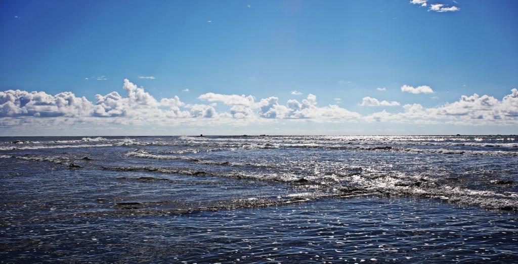 Zig-zag pattern created by opposing waves, Ballena National Marine Park