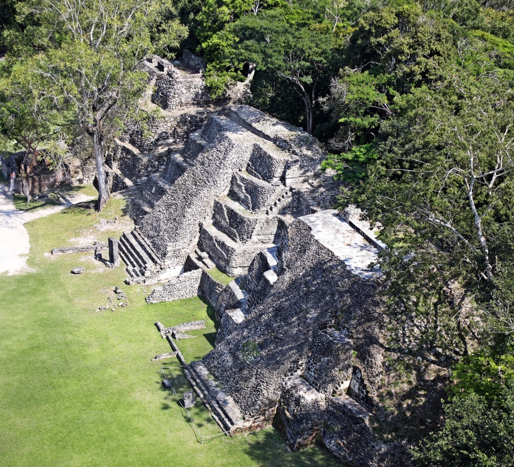 Pyramids seen from the top of El Castillo, Xunantunich