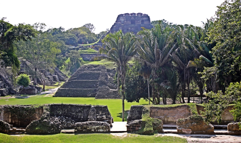 View of El Castillo from palace, Xunantunich