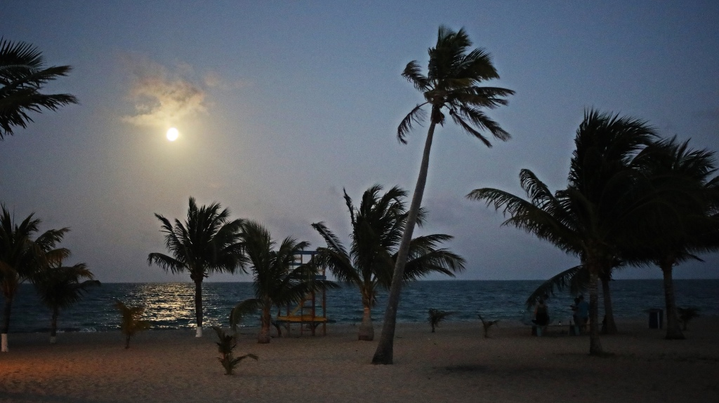 Full moon, Placencia Village, Belize