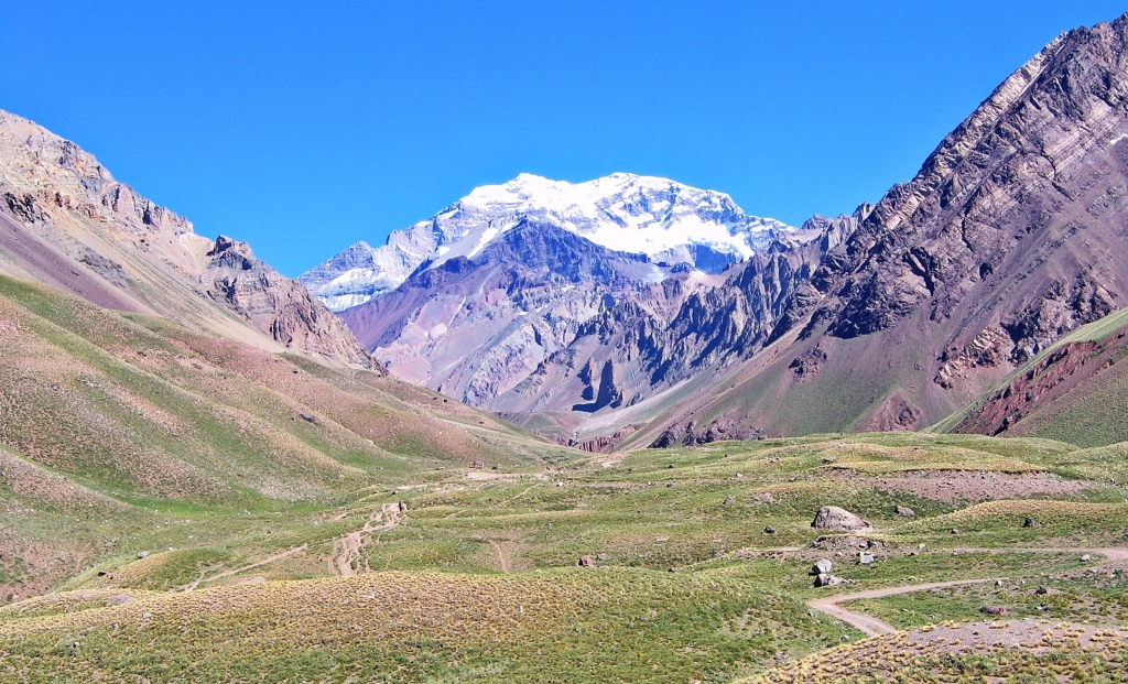 Horcones Valley with a snow capped Aconcagua