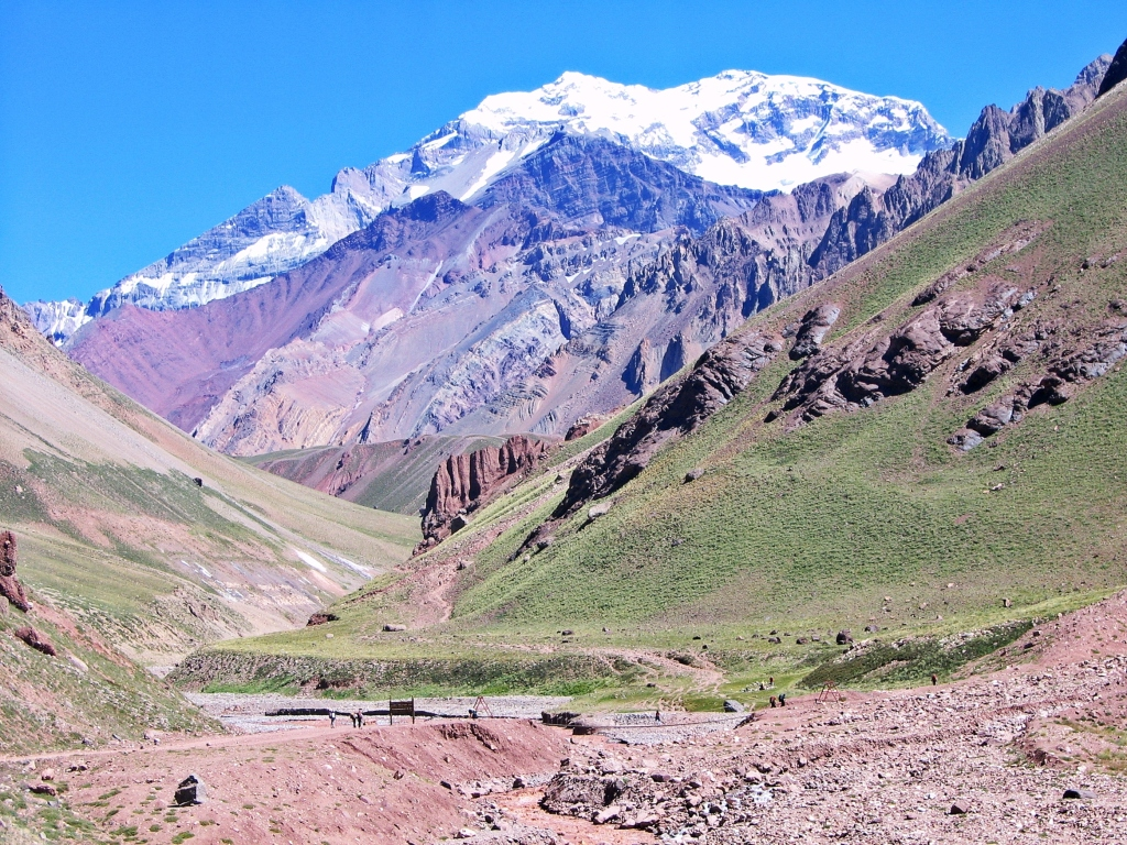 Brown Horcones River below snow capped Aconcagua
