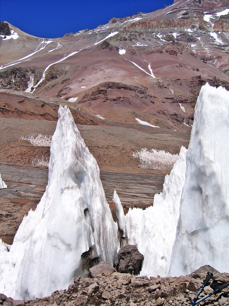 Nieve Penitentes on Mt. Bonete with Aconcagua behind