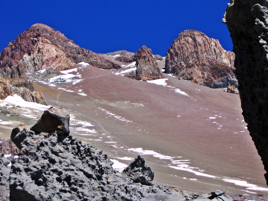 View of trail to canaleta and summit, Aconcagua