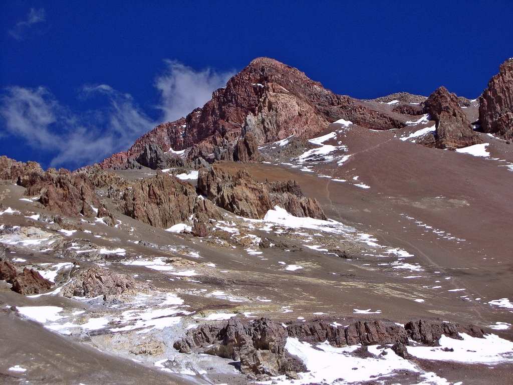 View of trail leading to Aconcagua summit