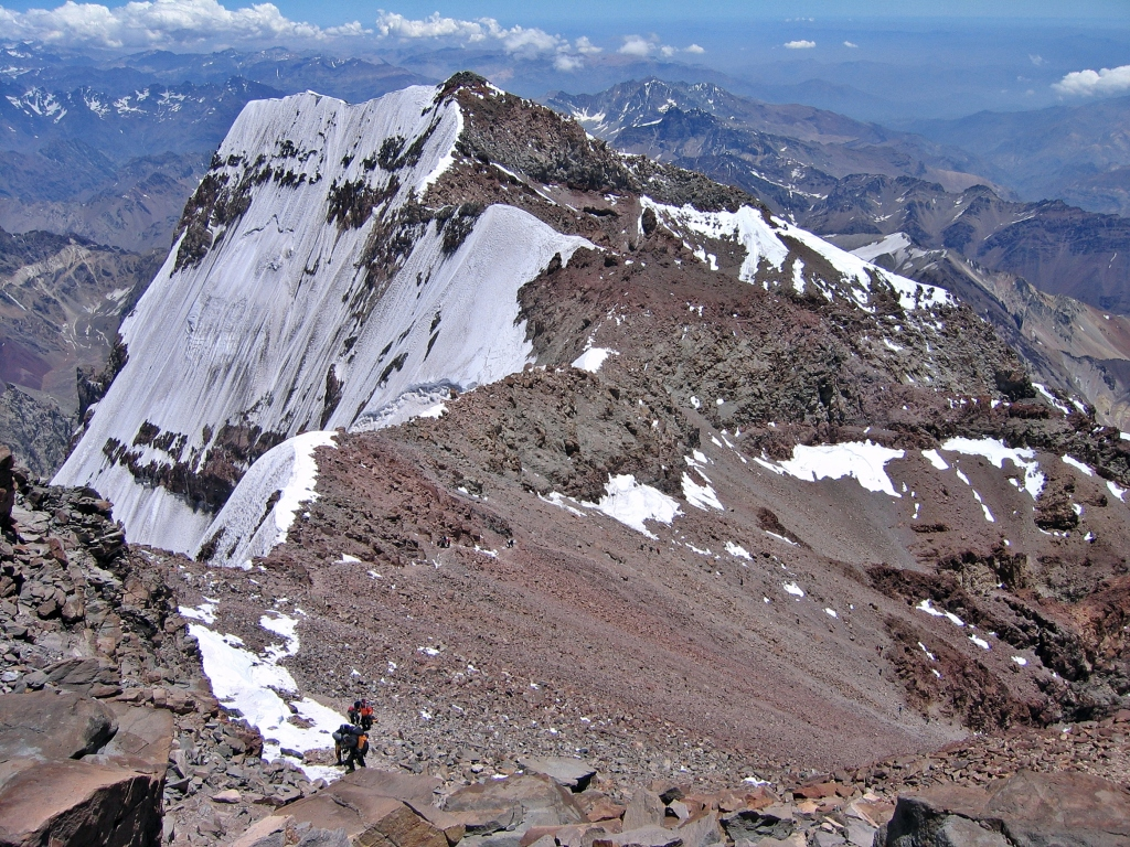 South Wall of Aconcagua from summit