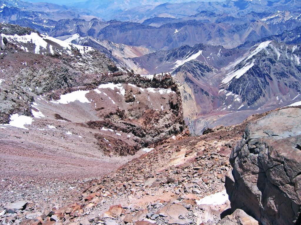 View of canaleta from above, Aconcagua