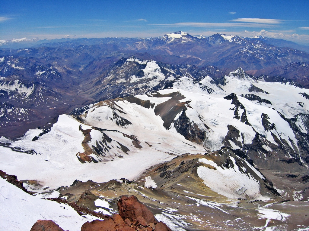 View from summit of Aconcagua